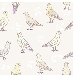 seamless cute doves vector image