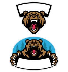 Set grizzly bear mascot design vector