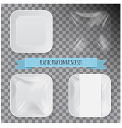 set of white square styrofoam plastic food tray vector image