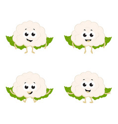 Set with cartoon cauliflower vector