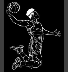 Silhouette cartoon basketball player is moving vector