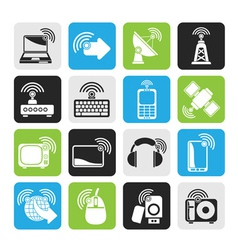 Silhouette wireless and technology icons vector image