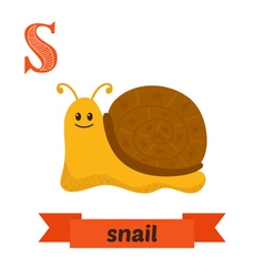 Snail S letter Cute children animal alphabet in vector image