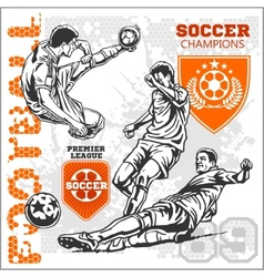 Soccer and football players plus emblems for sport vector image
