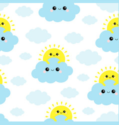 sun holding blue cloud in sky seamless vector image