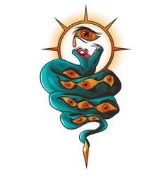 Tattoo with snake and eyes dangerous serpent vector