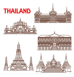 Thailand bangkok architecture facades line icons vector