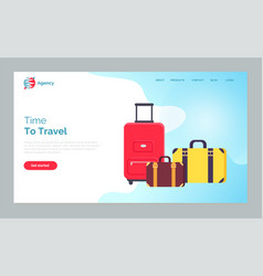 time to travel luggage and bags on vacation web vector image