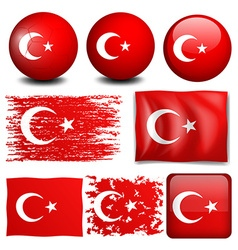 Turkey flag on different objects vector image