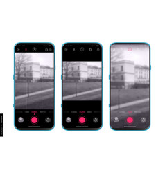Ui ux design camera app for mobile shooting modes vector