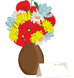 Vase of spring flowers and a card vector
