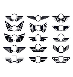 winged frames flying bird shield emblem eagle vector image