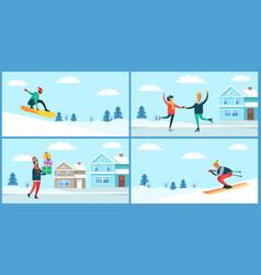 Wintertime activities placards set vector
