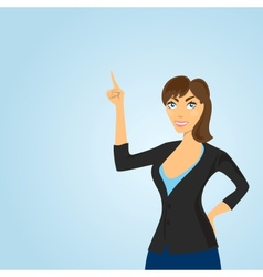 Woman points at a place where it can be placed vector image