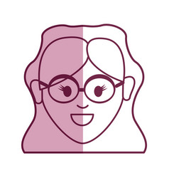 Young woman face with glasses and hairstyle vector