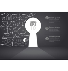 Opened wall in form of a keyhole business concept vector image