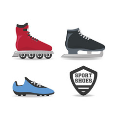 set ice skating sport game to competition vector image