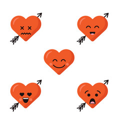 set of different flat cute emoji heart faces with vector image vector image