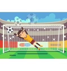 Soccer football goalkeeper catching ball in goal vector image