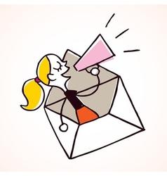 girl message loudhailer vector image