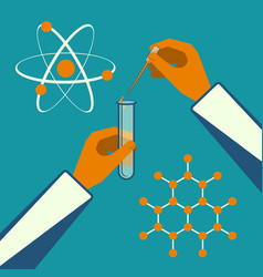 hand holding test tube and stick near sphere white vector image
