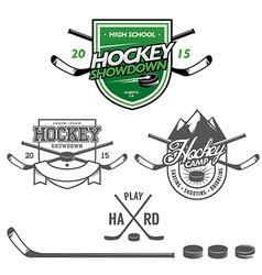 Ice hockey labels badges and design elements vector image vector image