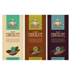 Set of label for chocolate with fruits of cocoa vector image vector image