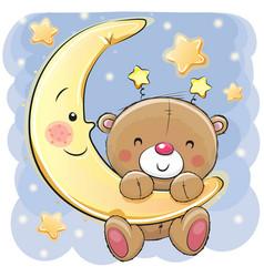 Teddy bear on the moon vector