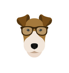 fox terrier dog in glasses cute dog vector image vector image