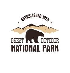 National park retro style badge mountain explorer vector
