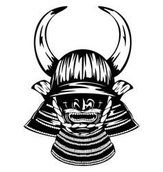 samurai helmet with horns menpo with yodare kake vector image