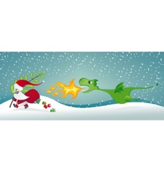 santa claus and the dragon vector image