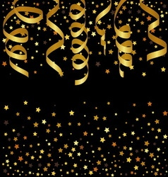 Christmas background with gold streamers and star vector image vector image