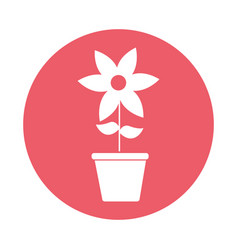 Cute flower garden with pot isolated icon vector