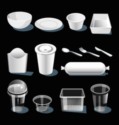disposable tableware made of white and transparent vector image