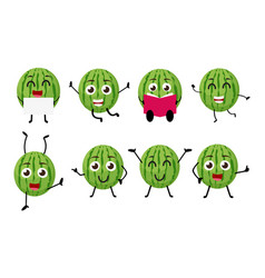 happy watermelon cartoon character vector image vector image