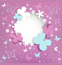 Pink background with butterflies on the frame vector image