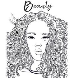 portrait of beautiful black woman vector image vector image