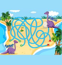 A dinosaur board game template vector