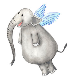 A joyful elephant with wings behind its back and vector