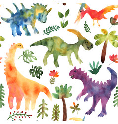 abstract seamless pattern with dinosaur for fabric vector image