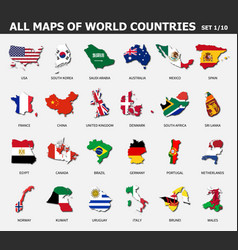 all maps world countries and flags set 1 of vector image