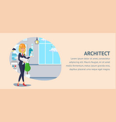 Architect website banner template vector