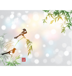 Bamboo trees and two magpies birds traditional vector