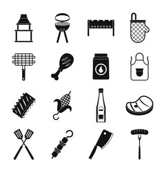 Bbq food icons set simple style vector