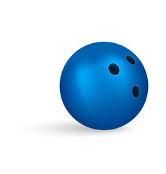 Blue bowling ball icon realistic style vector