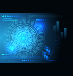 blue screen data circle circuit technology vector image