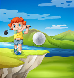 boy golfing in nature vector image