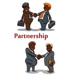 Business handshakes of happy businessmen vector image