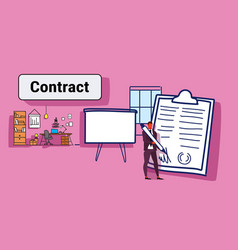 businessman signed up paper document business vector image